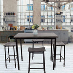 Bosonshop 5-Piece Dining Set with Metal Legs, Industrial Style, Wooden