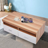 Bosonshop Wood Coffee Table with Drawers & Storage Compartments, for Living Room, Oak&White