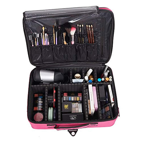 Bosonshop Backpack Portable Travel Makeup Case Cosmetic Organizer Bag Mini Makeup Train Case Pink