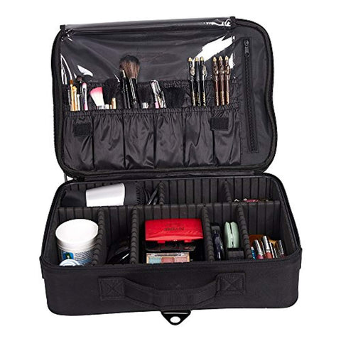 Bosonshop Backpack Portable Travel Makeup Case Cosmetic Organizer Bag Mini Makeup Train Case Black