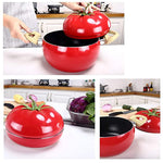 Bosonshop 3 Quart Pot Tomato Shape Sauce Pan With Cover Stainless Steel Aluminium, Red