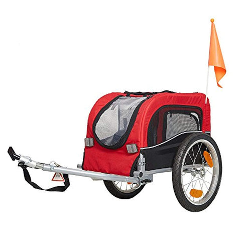 Bosonshop Pet Bike Trailer Bicycle Dog Carrier with Hitch, Suspension, Safety Flag, and Reflectors for Travel, Red