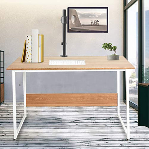 "Bosonshop 47"" Computer Writing Desk with Monitor Mount Stand for Home Ofiice,Oak&White"