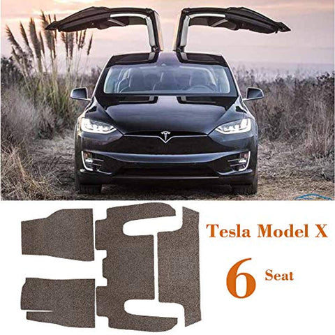 Bosonshop Tesla Model X-6 Seat Floor Mats Set, All Weather, Gray