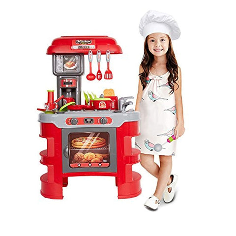 Bosonshop Kids Pretend Role Play Cook 's Store Kitchenware Super Chef Playset Toy, Red