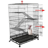 Bosonshop Cat Dog Crate Folding Large Metal Cage, Removeable Leak-Proof Tray, Climbing Ladders, 4 Wheels