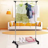 Bosonshop Single Rod Adjustable Rolling Clothes Garment Rack with Wheels Storage Shelves