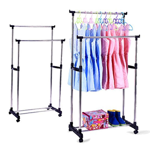 Bosonshop Portable Double Rods Rolling Clothes Rack for Clothes with Wheels
