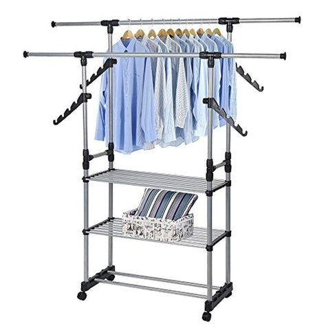 Bosonshop Folding Double Rails 3-Tier Clothes Rack with Shelf and Wheels