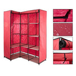 "Bosonshop Portable Corner Clothes Closet with Metal Shelves,66.5"" H (red)"