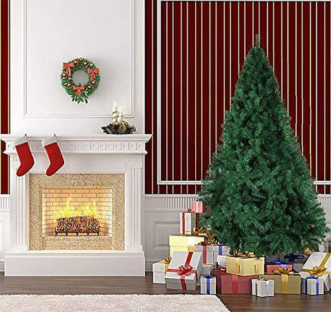 Bosonshop 6 Ft Artificial Christmas Tree Decorate Pine Tree W/Metal Legs Anti-dust Bag Green White