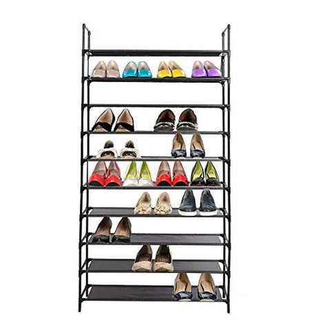 Bosonshop 10 Tiers Shoe Rack Free Standing Non Woven Fabric Shoe Tower Organizer Cabinet for Entryway