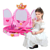 Bosonshop Pink Princess Pretend Play Dressing Table with Makeup Mirror,Music and Lights