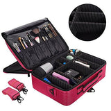 Bosonshop Middle Size Backpack Cosmetic Organizer Bag Portable Mini Makeup Train Case Black Pink