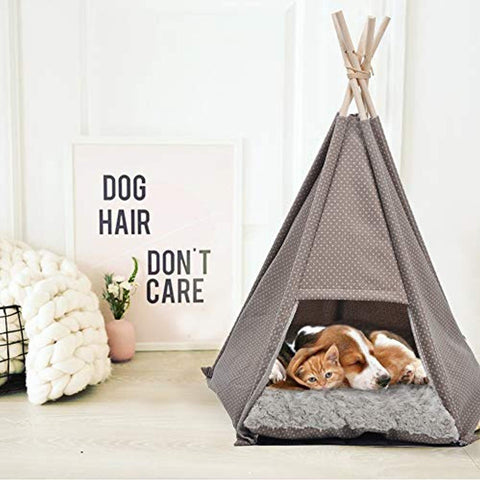 Bosonshop Portable Pet Canopy Teepee Indian Tent Bed for Little Dogs and Cats with a Soft Cushion