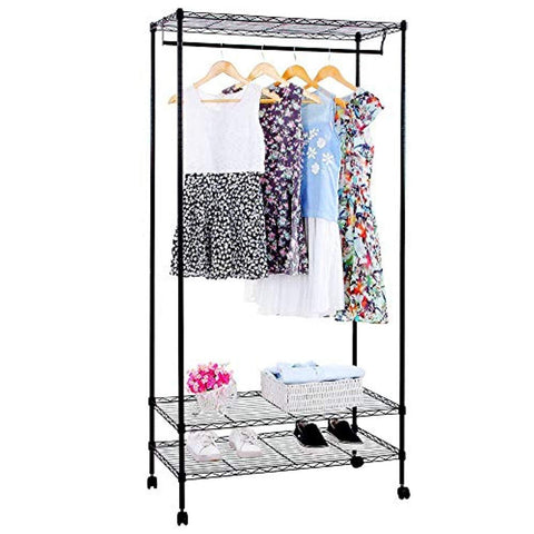 Bosonshop Garment Rack with Top and Bottom Shelves with Wheels,Black (72 inch)