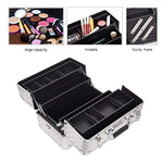 Bosonshop Professional Makeup Train Case with 4 Sliding Trays and Adjustable Dividers with 2 Lock&Keys,Silver