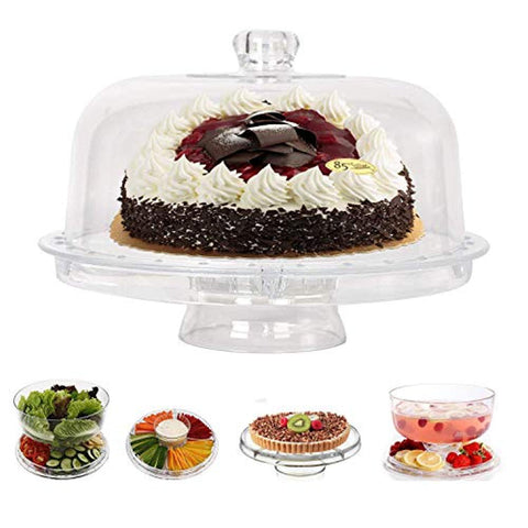 Bosonshop 6 in 1 Multifunctional Serving Platter and Cake Plate, Salad & Punch Bowl,Clear Acrylic, 12""
