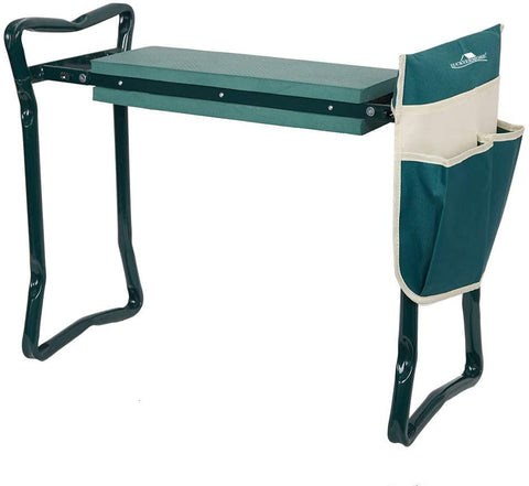 Garden Kneeler & Seat Folding Multi-Functional Steel Garden Stool with Tool Bag EVA Kneeling Pad