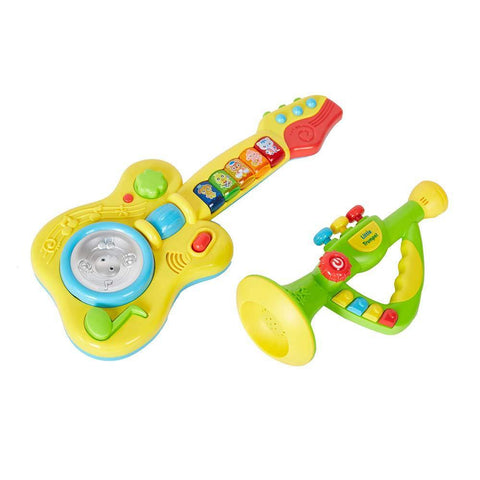 Bosonshop Kids 2 in 1 Electronic Musical Instruments Guitar Toys with Trumpet