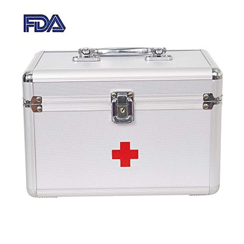 Bosonshop Lockable Medicine Storage Box,First Aid Box with Compartments
