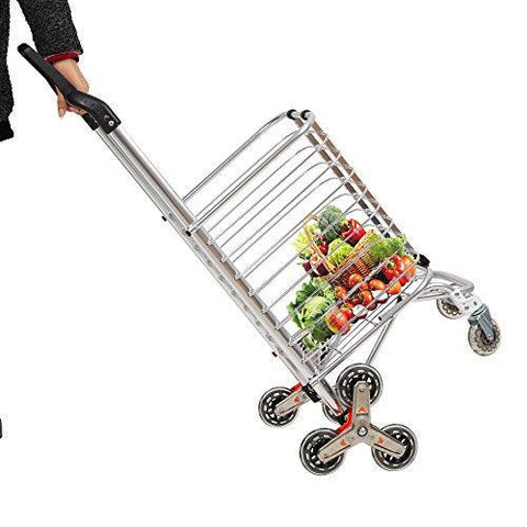 Bosonshop Aluminum Stair Climbing Shopping Cart with Rubber Swivel and Tri-Wheels