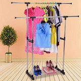 Bosonshop Clothes Racks for Hanging Clothes Drying Clothes Inside with Tiers Storage Shelves
