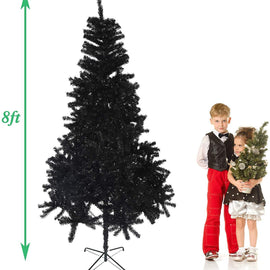 8' Premium Artificial Christmas Tree with Solid Metal Stand, Festive Indoor and Outdoor Decoration, Black