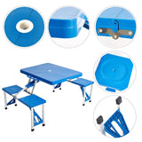 Bosonshop Lightweight Plastic Outdoor Camping Suitcase Table with Chairs,Blue