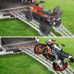 2pcs Loading Ramp 7.5FEET-1500lbs Capacity Aluminum Foldable Truck Ramp Suitable for Motorcycle(Gridded 7.5Ft)