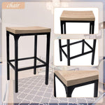 Bosonshop 5-Piece Counter Height Square Dining Set Wooden Country Style with Metal Legs White