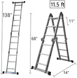 11.5 Feet Folding Multi-Ladder 12 Step Aluminum Extendable Ladder Scaffold Ladders, 330lbs Capacity