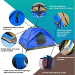 Bosonshop 3-4 Person Double-Door Waterproof Family Camping Tent