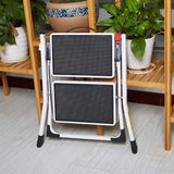 "Bosonshop Mini Folding 2-Step Stool Lightweight Stepladders 17"" High 225 lb Capacity White"