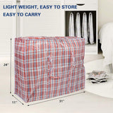 "3-Pack Extra-Large Plastic Checkered Storage Laundry Shopping Bags W. Zipper & Handles Size 31""x11""x24"""