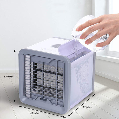 Portable Air Conditioner, USB Personal Mini Air Cooler with 3 Speeds, 7-Colors LED Light, Ice Water Tank