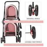 Foldable Pet Stroller, Double Decker Stroller on Wheels for Small Medium Dogs and Cats (Pink)