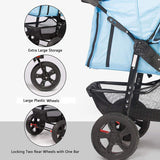 Foldable Large Pet Jogger Stroller for Dog/Cat, Portable Three Wheels Pet Stroller, Blue