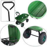 "Bosonshop Heavy Duty Wagon Carrier Garden Dump Cart with Handle and 10"" Big Wheel, 550-Pound Capacity"