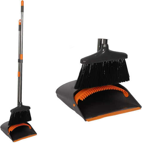 Broom and Dustpan Set Long Handle Lightweight and Robust Sweep Set Easy Assembly for Pet Hair Dirty Corners, Home Office, Grey + Orange