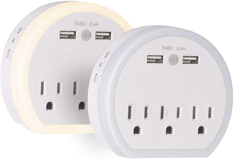 USB Wall Outlet Extender, Surge Protector Wall Outlet Plug with 3 Outlet and 2 USB Port(5V/2.4A)