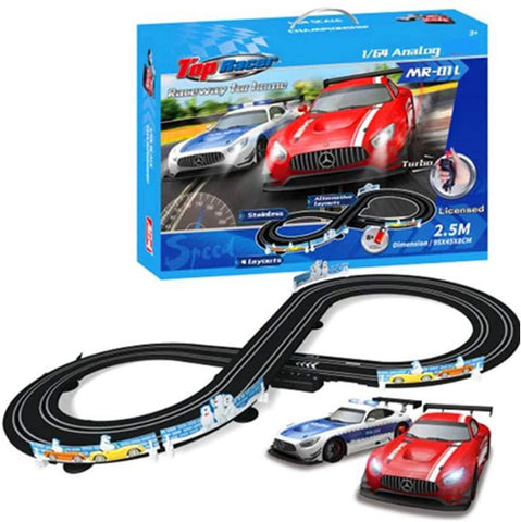 Electric 1:64 Scale Slot Car Racing Track Set Toy With Two Cars For Dual Racing For Kids