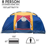 Outdoor 8 Person Camping Tent Easy Set Up Party Large Tent for Traveling Hiking With Portable Bag, Blue