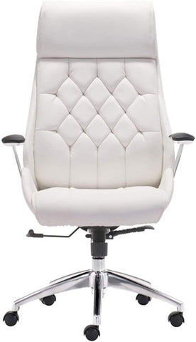 White Office Chair Ergonomic Leather High Back Heavy Duty Executive Chairs Adjustable Lock Position 360 Degree Swivel