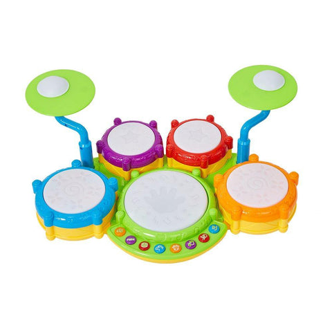 Bosonshop Musical Instrument Hand Drum Toy with Flash Lights for Kids Early Learning