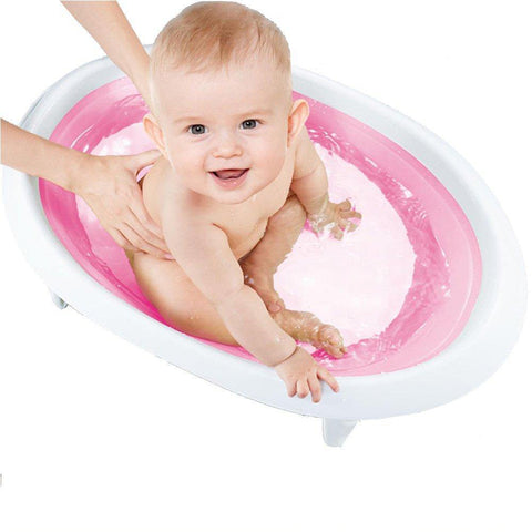 Bosonshop Contracted and Comfortable Collapsible Baby Bath Tub,Pink