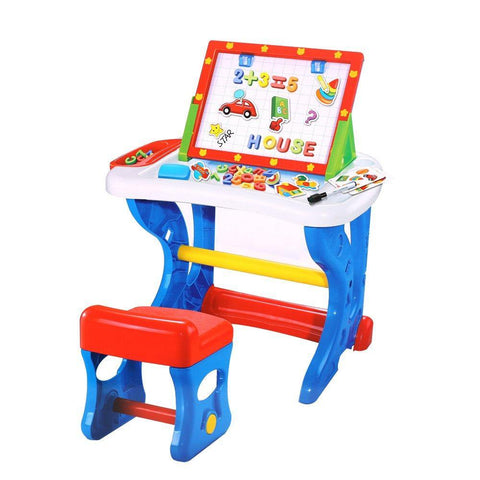Bosonshop Deluxe Preschool Toys Learning Painting Desk Writing Board with Kids Chair and Easel