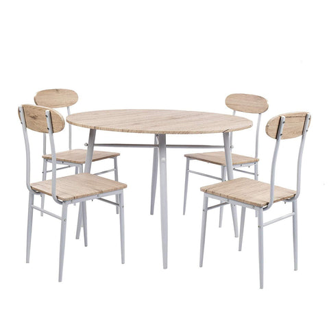 Bosonshop Round Dining Set, Country Style with Metal Legs, 5-Piece