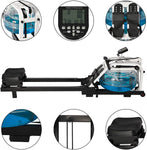 Water Rowing Machine Indoor Water Rower Adjustable Resistance with LCD Monitor Home Gym Equipment for Whole Body Exercise Cardio Training