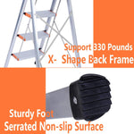 4 Step Ladder Folding Stepladder Stool Anti-Slip Pedal Aluminum Lightweight Safety Hand Grip 330 lb Capacity for Indoor Outdoor Home Garden Office